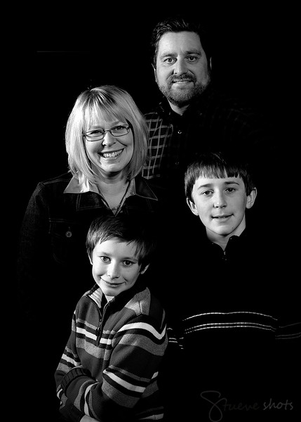 The four of us.  Taken in December 2009 by my father, Ray Halm, processed in black and white by me.