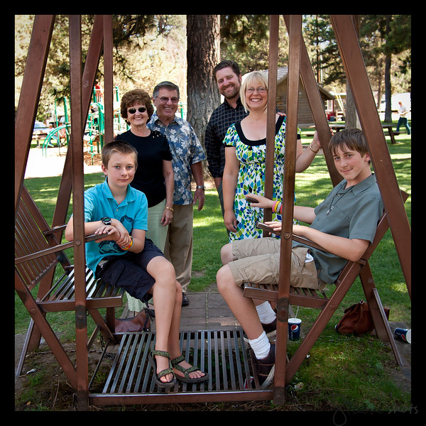 The Stueve family.  From the left: Timothy, Dorothy, John, Tom, Heather, Jonathan.  August, 2010.  Sisters, Oregon.