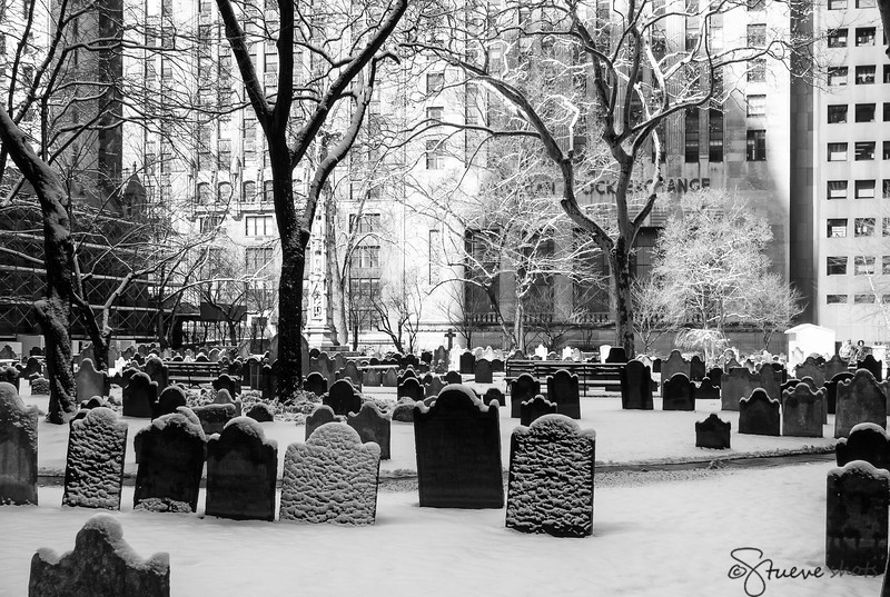 The small cemetery of Trinity Church in New York City, right in front of the American Stock Exchange