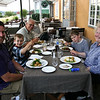 A Stockholm meal al fresco.  Tom, Timothy, Papa, Jonathan, and Grammy.