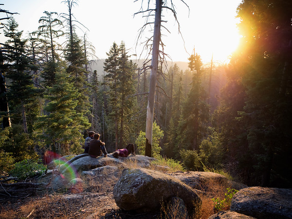 Jonathan, Timothy and Sarah, watching the sun set at our campground (Sunset, near Grant's Grove in Kings Canyon National Park)