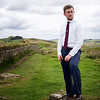 Jonathan requested that I take a set of portrait photographs along Hadrian's Wall--so he hiked the whole day in dress shoes and a tie. Photo by Heather.