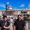 In front of the National Gallery in Trafalgar Square. Photo by Jonathan.