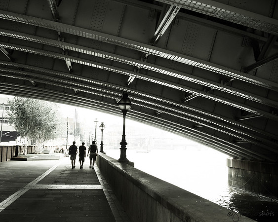 Walking Along the Thames, under the Blackfriars Bridge