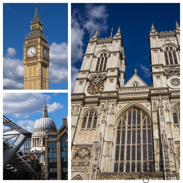 Big Ben, Westminster Abbey and the dome of St. Paul's Cathedral