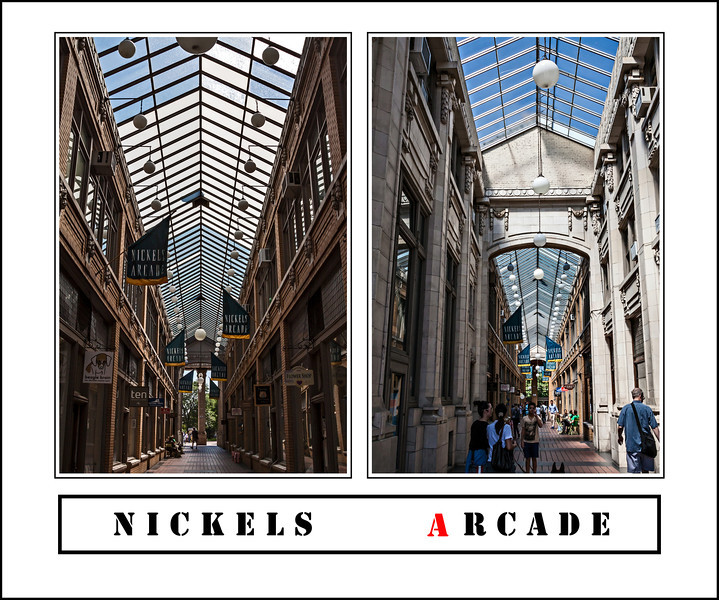 """Donna's Alphabet Challenge:  A (July 14, 2013)<br /> <br /> A :  Arcade - A roofed passageway or lane, especially one with shops on one or both sides<br /> <br /> Nickels Arcade, built in 1918, is a landmark among the commercial buildings that surround the University of Michigan's Central Campus.  It connects State Street and Maynard Street, with its east entrance opposite the intersection of North University and State Street.  It has always been home to a variety of specialty shops.  A few of the ones that were there when I was in graduate school are still in business in the Arcade.  Over the years I have spent happy times shopping and window shopping in the various stores along this walkway, as well as sheltering from sudden storms, or from bitter winter winds.<br /> <br /> These two views were taken minutes apart on July 12, 2013.  The left side is the view facing eastward, toward State Street.  Obviously then, the right side is the west-facing view.  For views of the separate images in this montage, as well as other views of Nickels Arcade, see here:  <a href=""""http://arctangent.smugmug.com/Places-Near/Ann-Arbor-Locales/Nickels-Arcade/30529491_ShbdMF"""">http://arctangent.smugmug.com/Places-Near/Ann-Arbor-Locales/Nickels-Arcade/30529491_ShbdMF</a> ."""