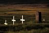 Some of the grave markers in Breiðavík Cemetery.<br /> <br /> Breiðavík, Westfjords, Iceland