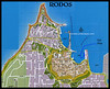 MS G12 00<br /> <br /> A street map of Rhodes Town, or Rodos, on the Island of Rhodes.  It was taken from GreekLandscapes.com, via mappery.com, and modified to show the location of the Corinthian II at the dock.
