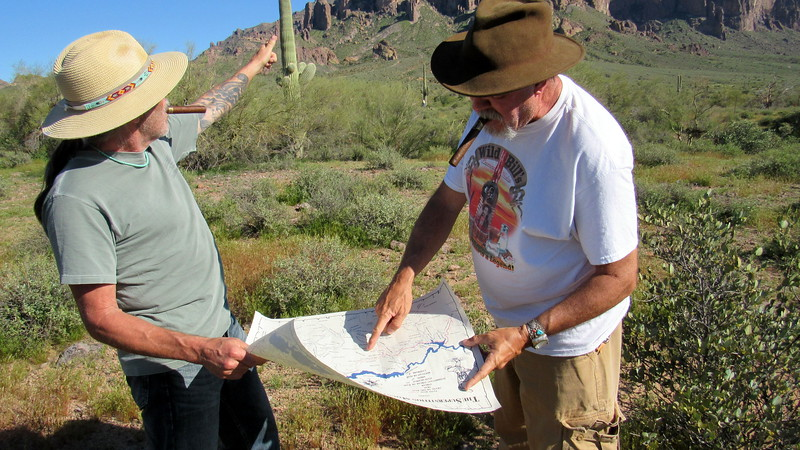 We obtained a detailed map of the Superstitions with possible locations of the Lost Dutchman's Mine