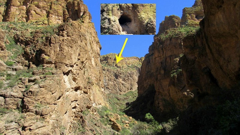 Our latest information was that the Lost Dutchmen's Mine was near a cave in a canyon with a view of Weaver's Needle. We spotted this cave and decided to climb up to it to see if it fit the description