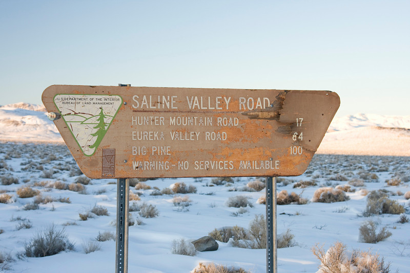 As we left Saline Valley Road we would encounter snow all the way down the 395 to Little Lake.