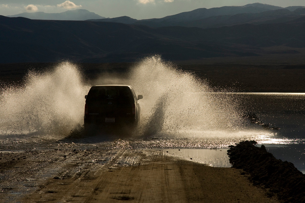 Water on Ballarat Road. Its interesting that water flows into Panamint Valley from the North and South with no outlet.
