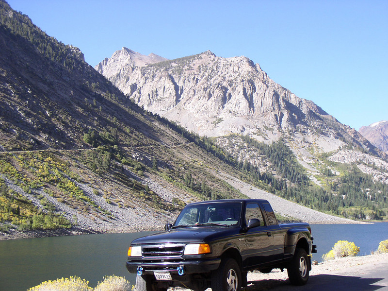 Arriving at Lundy Canyon with a view of the lake. Mt. Scowden in the background.