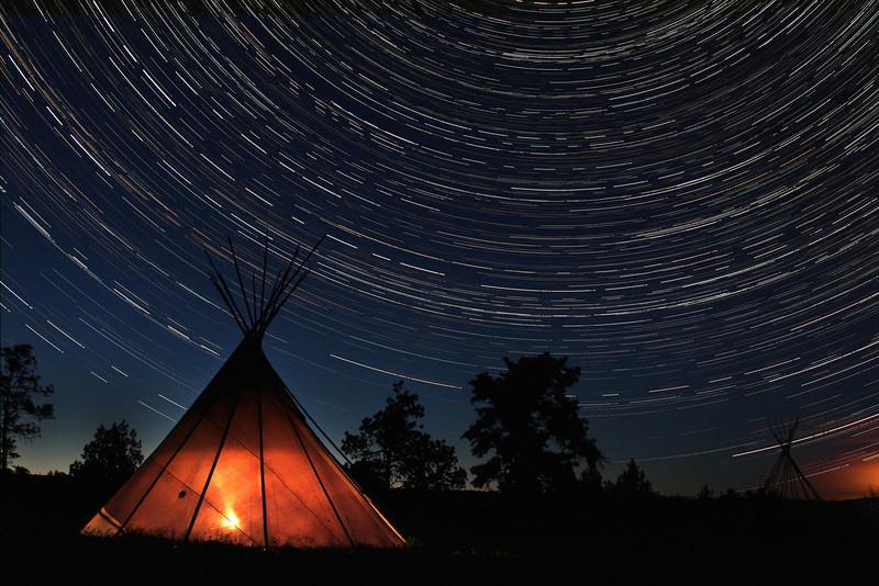 Teepee and Star Trails, South Dakota