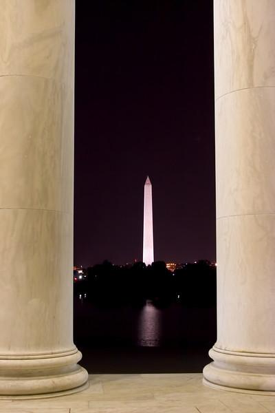 Washington Monument from Jefferson Memorial, Washington DC. October 2009