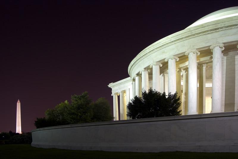 Jefferson Memorial and Washington Monument, Washington DC.  October 2006