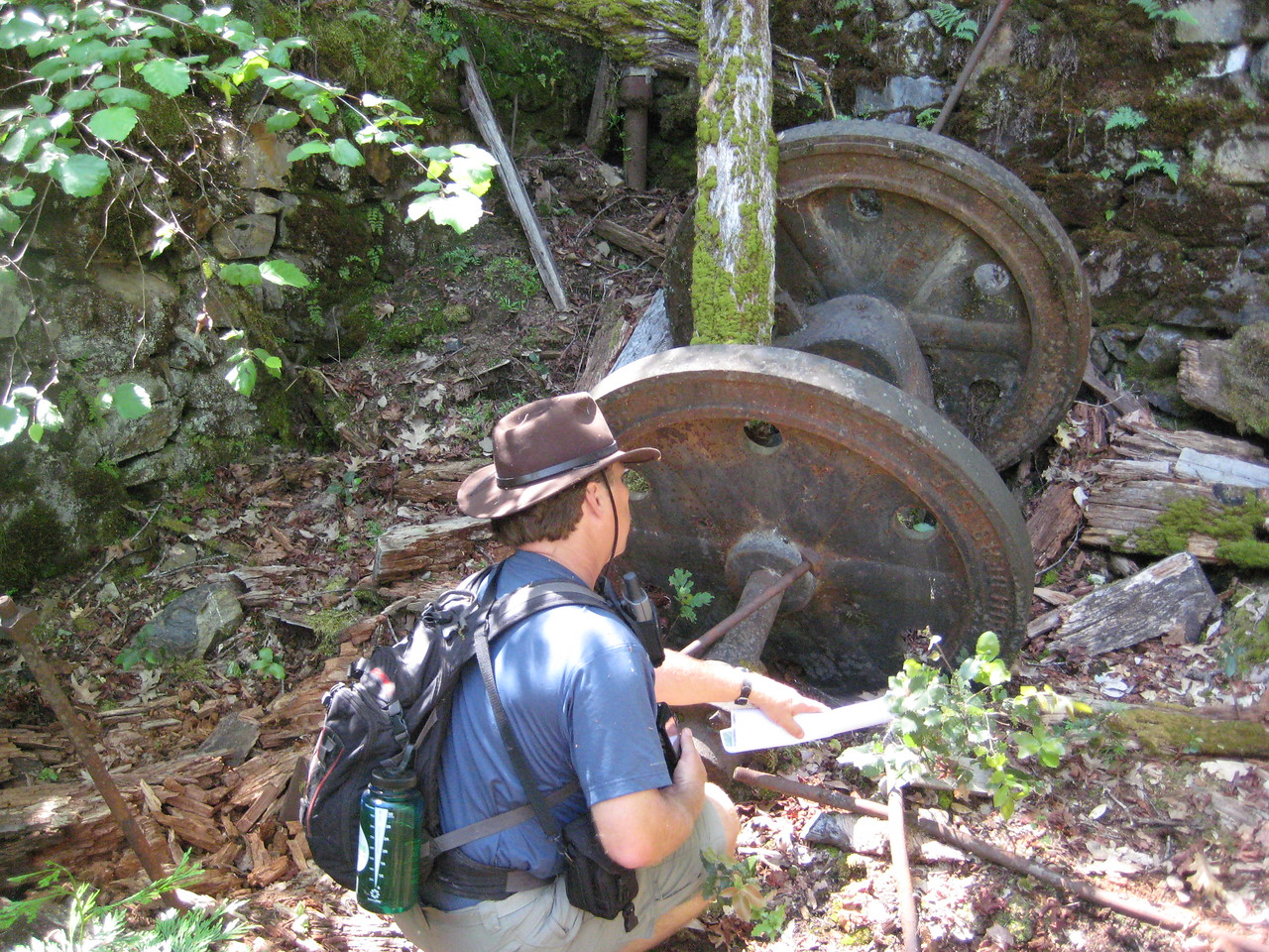 After a long 2 mile hike down to the river and trampling through poison oak, we came across the Keltz Mill.
