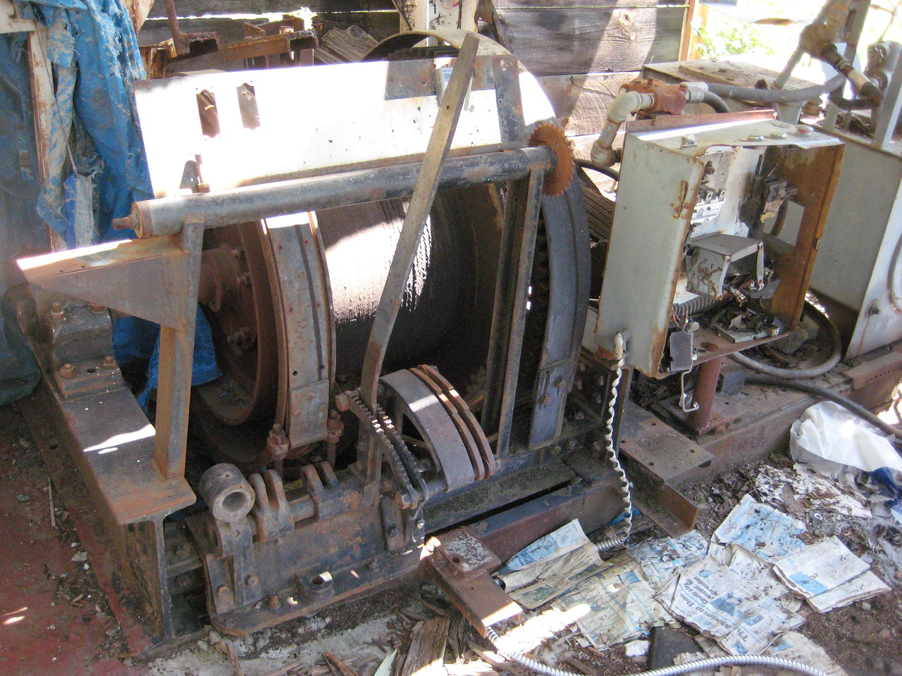 The winch used to pull the ore cars out of the mine.
