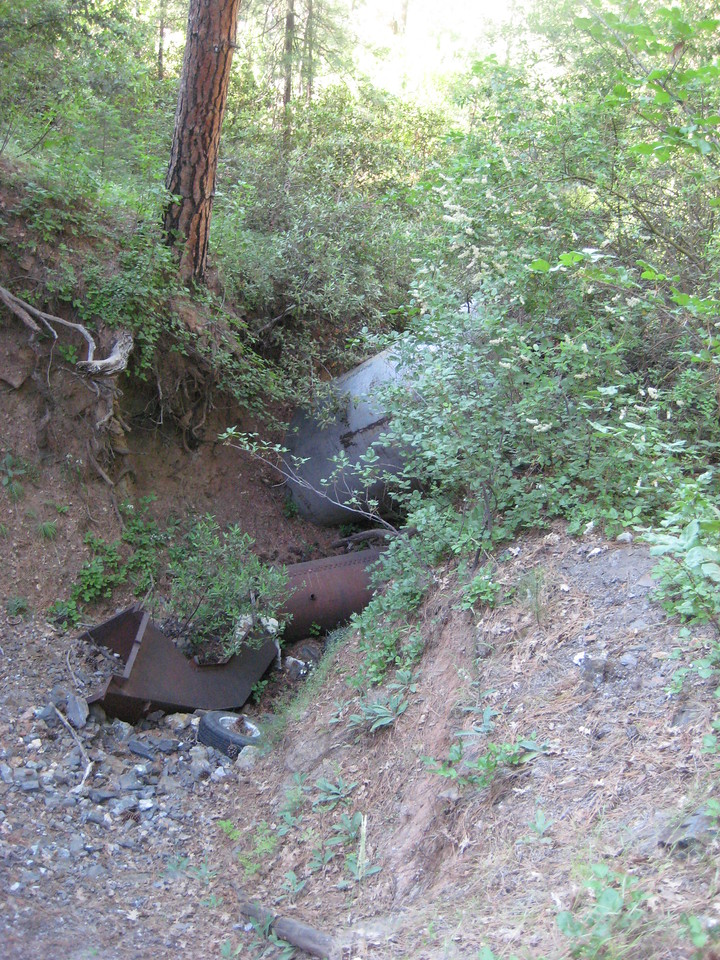 A boiler in the ditch below. Unfortunately covered in poison oak.