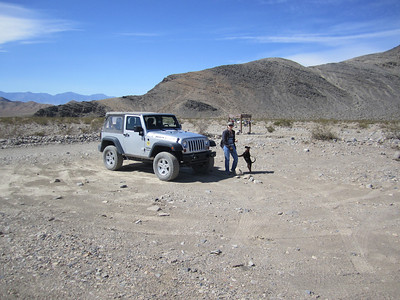 Jamie & Izzy at TeaKettle Junction in Death Valley.