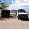 Hall's Crossing campground with the OZ tent plus the front and sides deployed, overlooking Lake Powell.