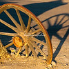 An old wagon wheel a Stovepipe Wells, Death Valley, Califoria.