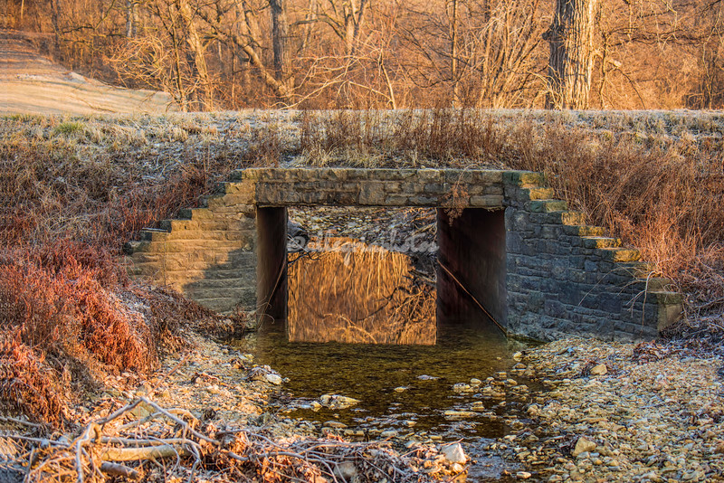 Old bridge over a stream, Elsah, Illinois