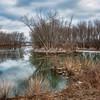 Winter reflections on Gilbert lake, Grafton