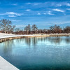 Icy Lake and Fountain in Forest Park, St Louis