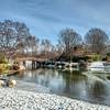 View across the lake at Missouri Botanical Garden, St Louis, Missouri, USA