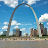 The Gateway Arch from the Mississippi River, St Louis, Missouri, USA.