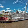 American Queen Steamboat moored on the Mississippi River at Gateway Arch, St Louis, Missouri, USA