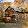 Wooden barn in the fall