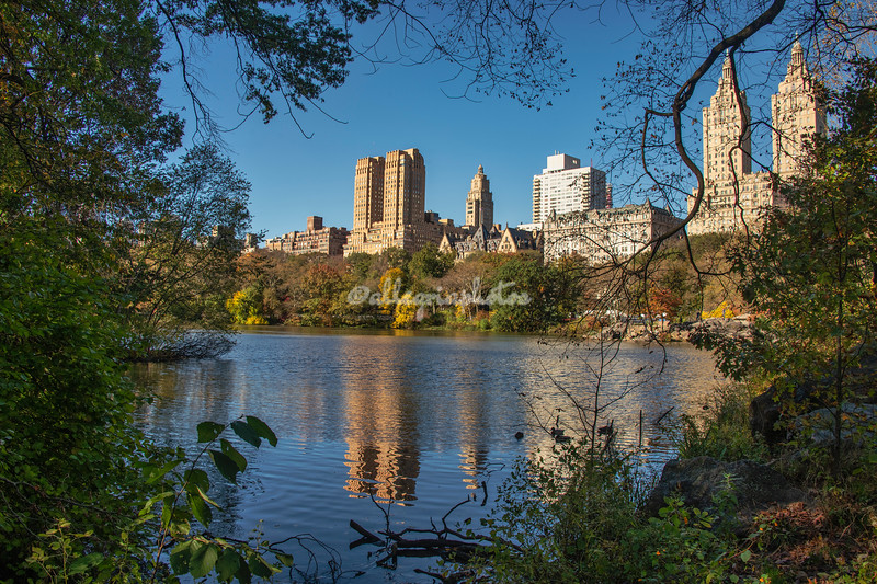 Reflection of City skyline across the lake in Central Park, New York City