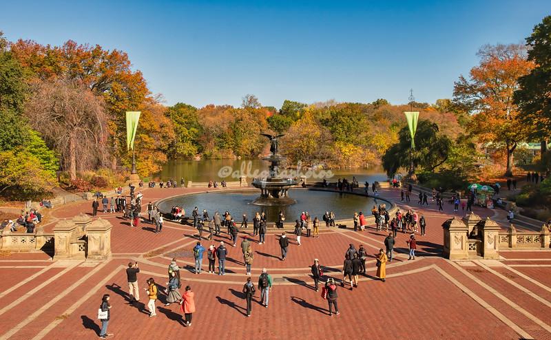 Bethesda Plaza on a sunny autumn day, Central Park, New York City