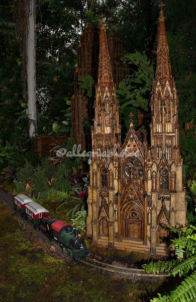 A model train passes in front of a model of New York City's St Patrick Cathedral, part of the New York Botanical Garden's annual Christmas train show.