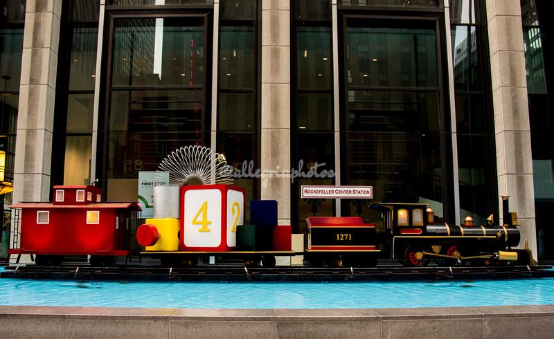 A Christmas train at Rockefeller Center, New York