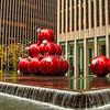 Red Christmas tree decorations, Rockefeller Center New York