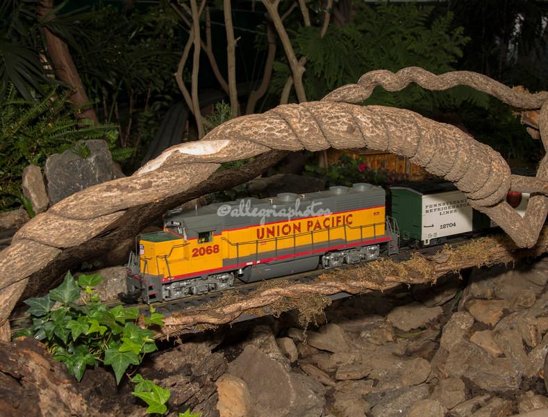 "Crossing a ""branch"" bridge, New York Botanical Garden annual Christmas train show"