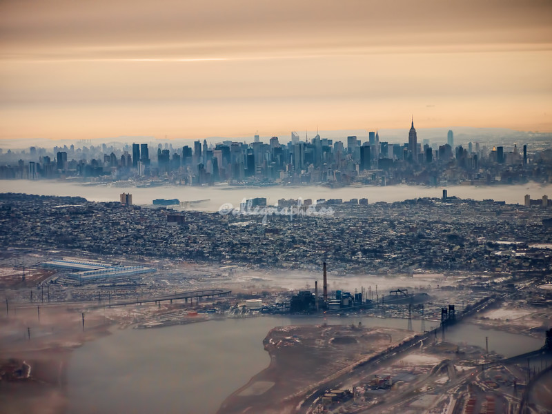 """Wintry Morning""  over Jersey City and Manhattan Skyline after take-off from Newark"