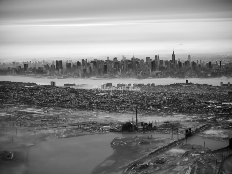"""""""Wintry Morning""""  over Jersey City and Manhattan Skyline after take-off from Newark"""