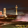 Niagara Falls at Night. The photograph was taken from the top of American Falls looking across at Canada.