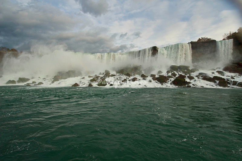 Niagara Falls. American Falls with Cave of the Winds at the far right side under the falls.