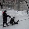 Clearing the sidewalk, NYC