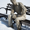 Statue in the snow, Riverside Park, New York City