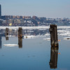 Icy reflections on the Hudson River,