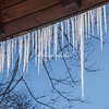 Icicles attached to a wooden roof in Central Park