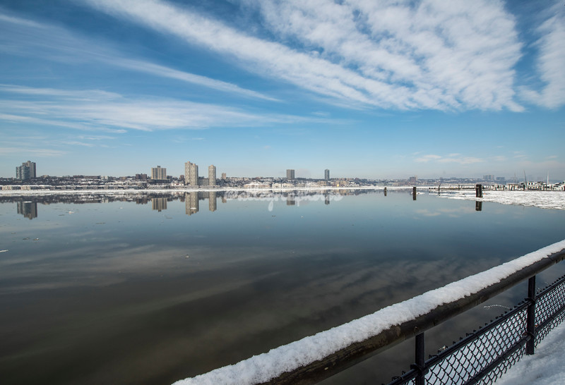 An icy Hudson River  - looking towards George Washington Bridge