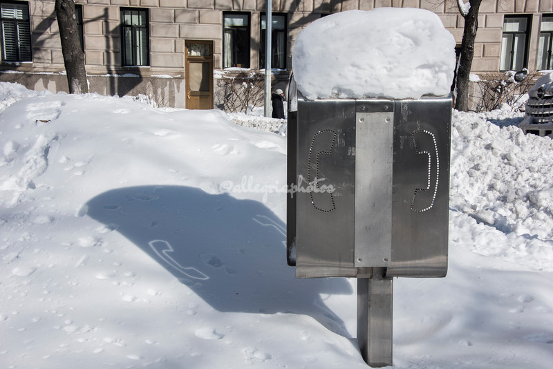 Public telephone in the snow, NYC