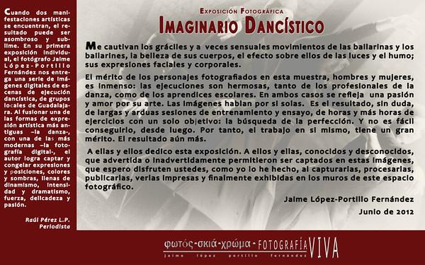 Textos introductorios a la exposición, por el periodista y escritor Raúl Pérez López-Portillo y por el fotógrafo Jaime  López-Portillo Fernández